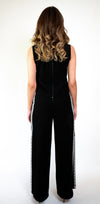 #108-18  Crepe Two-Piece Jumpsuit with Embroidery