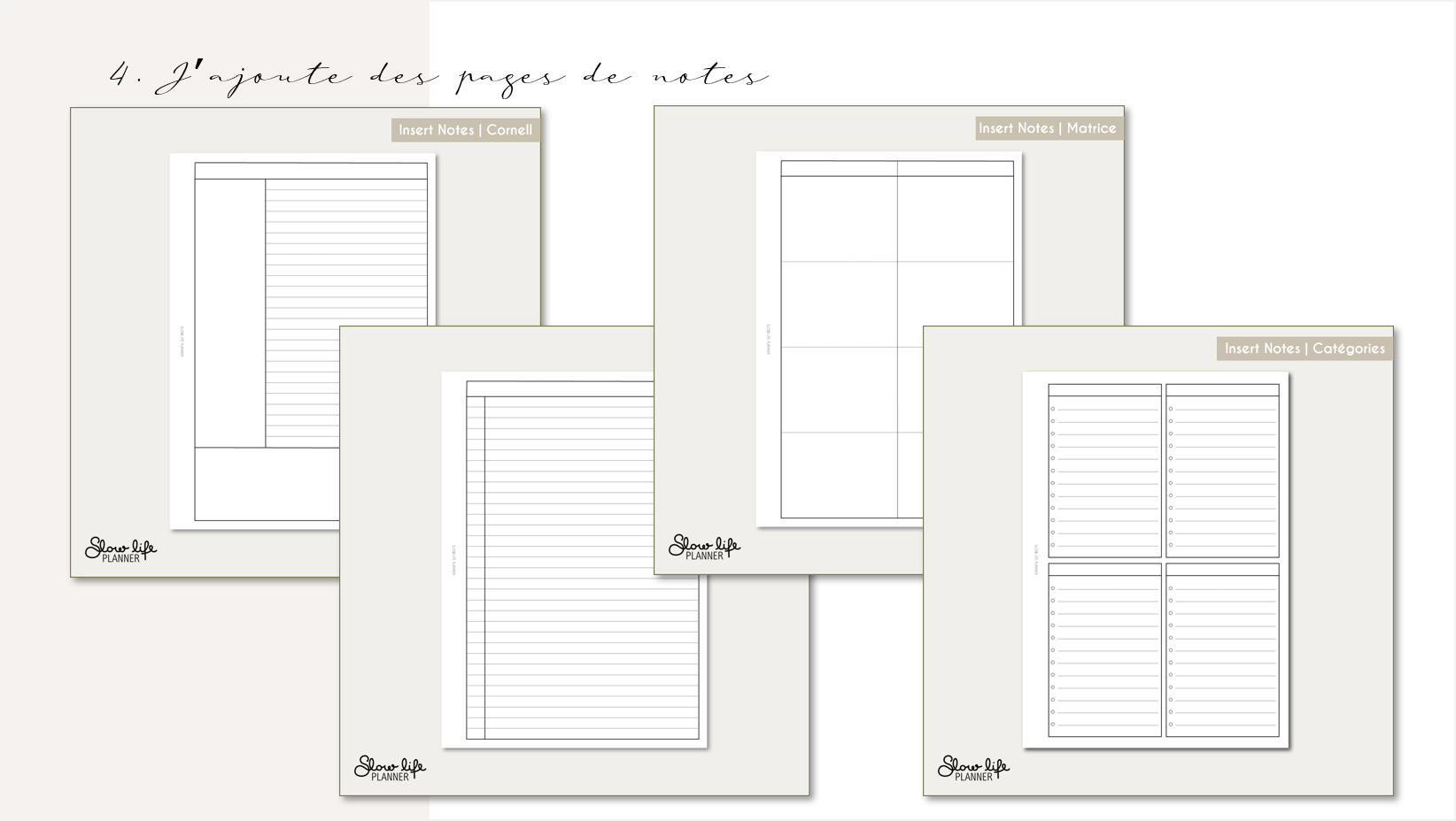 Slow Life Planner - Inserts notes