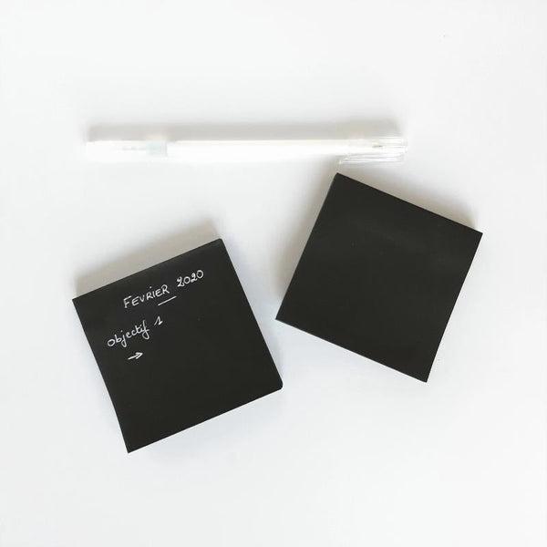 Bloc notes adhésives repositionnables noires - Black sticky notes