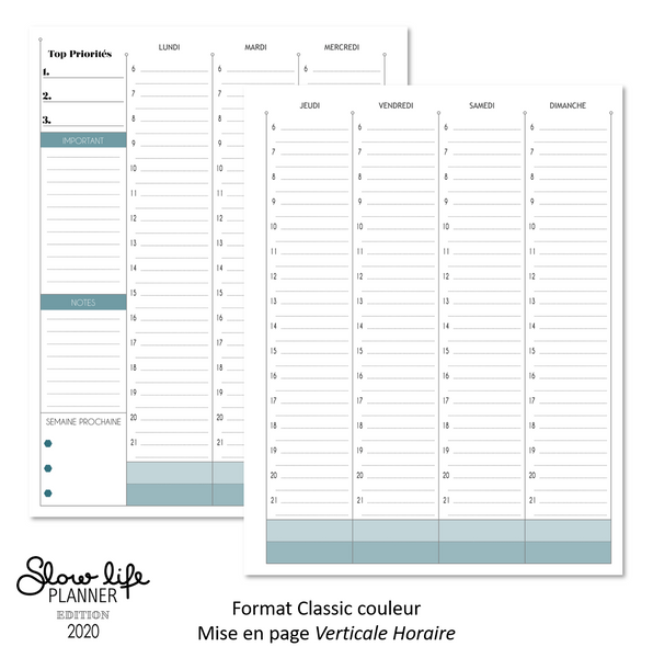 Inserts Planner 2020 - Classic Verticale Horaire