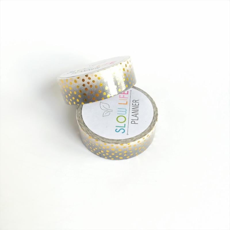 Washi tape gris plumetis Or