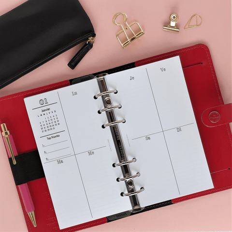 Inserts Planner 2020 - Verticale Minimale 6 trous - Slow Life Planner