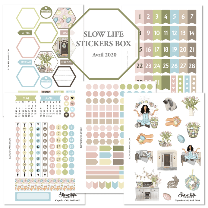 Slow Life Planner stickers Box d'Avril 2020