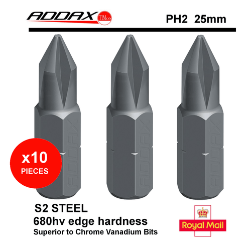 ADDAX Power Tool Accessories 10x PHILLIPS #2 PH2 DRIVER INSERT POWER TOOL DRIVER BITS QUALITY S2 TOUGH 25mm