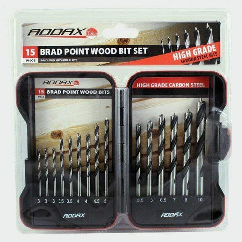 Addax Power Tool Accessories 15 PIECE BRAD POINT WOOD DRILL BIT SET 3 3.5 4 4.5 5 5.5 6 6.5 7 8 10 (AK4)