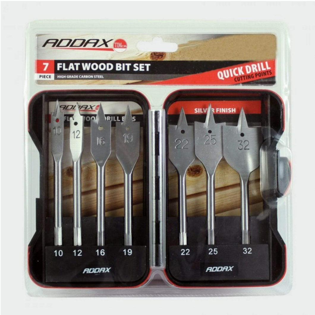 Addax Power Tool Accessories 7 Piece Flat Wood Bit Set F7SET 10mm, 12mm, 16mm, 19mm, 22mm, 25mm, 32mm Addax