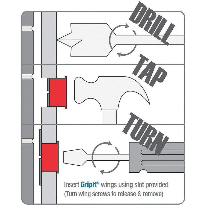 Grip It Fixings RED GRIP IT PLASTERBOARD FIXINGS & SCREWS HOLLOW CAVITY WALL GRIPIT 18mm PLUG
