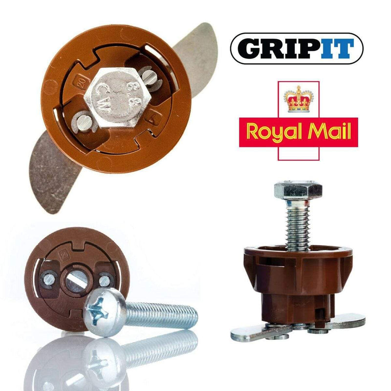 GripIt Fixings 2 GRIPIT BROWN 20mm PLASTERBOARD FIXINGS & SCREWS HOLLOW CAVITY WALL PLUG GRIP IT