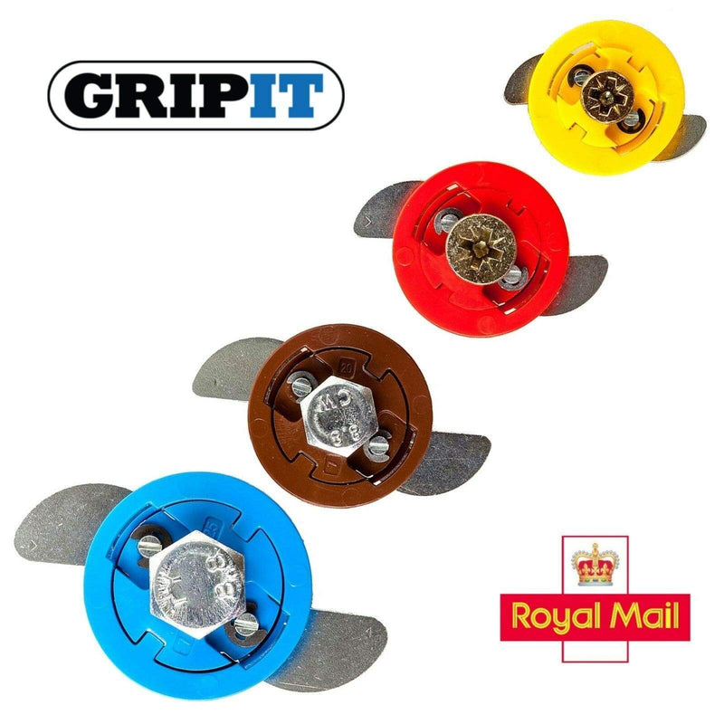 GRIPIT Fixings Yellow - 15mm / 2 YELLOW 15mm, RED 18mm, BROWN 20mm, BLUE 25mm GRIPIT WALL FIXINGS GRIP IT PLUG