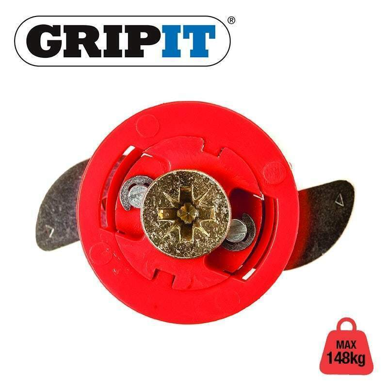 GRIPIT Fixings YELLOW 15mm, RED 18mm, BROWN 20mm, BLUE 25mm GRIPIT WALL FIXINGS GRIP IT PLUG