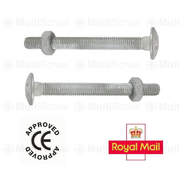 MultiScrew Business, Office & Industrial:Fasteners & Hardware:Other Fasteners & Hardware M10 x 25mm / 5 M10 (10mm) GALVANISED CUP SQUARE CARRIAGE BOLTS COACH SCREW FULL HEX NUT HOT DIP