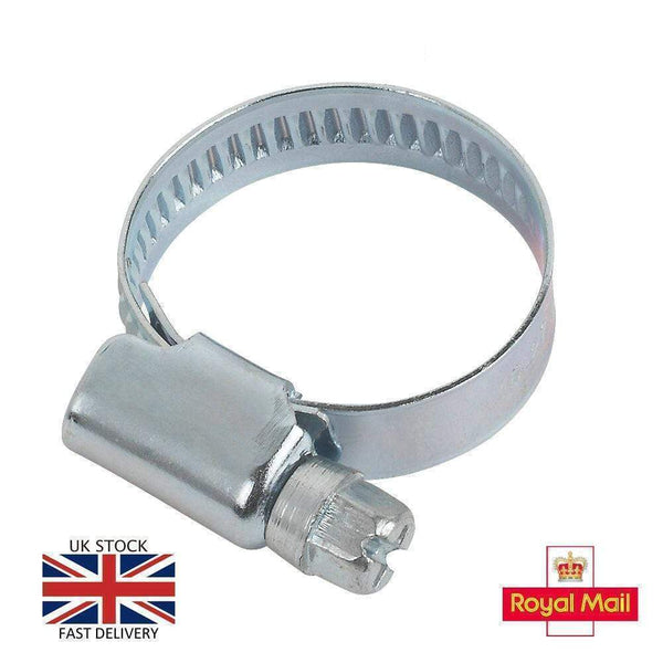 20-32mm W1 Zinc Coated Steel Clip Fuel Air Water Worm Hose Clamp 5 Pack