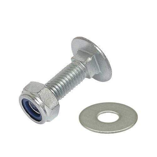M12 BZP CUP SQUARE CARRIAGE BOLT COACH SCREW + WASHER + NYLOC NUT, DIN 603 NYLON