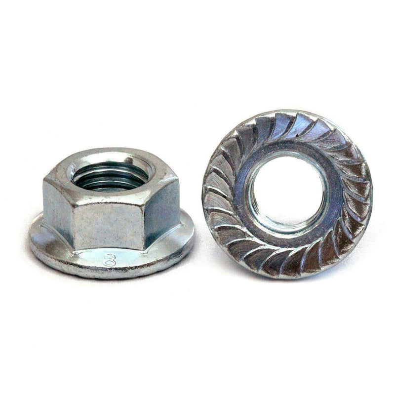 MultiScrew Fasteners M6 / 6mm / 2 M6 M8 M10 M12 M16 M20 ZINC PLATED HEX SERRATED FLANGE NUTS NUT BZP DIN 6923 CE