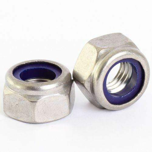 MultiScrew Fasteners M6/8/10/12/16mm A2 Stainless Steel Nylon Insert/ Nyloc Locking Nuts DIN985 T