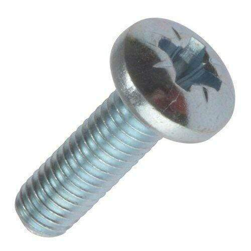 M6 / 6mm ZINC PLATED MACHINE SCREW POZI PAN HEAD DRIVE BOLTS SCREWS DIN 7985 PZ2