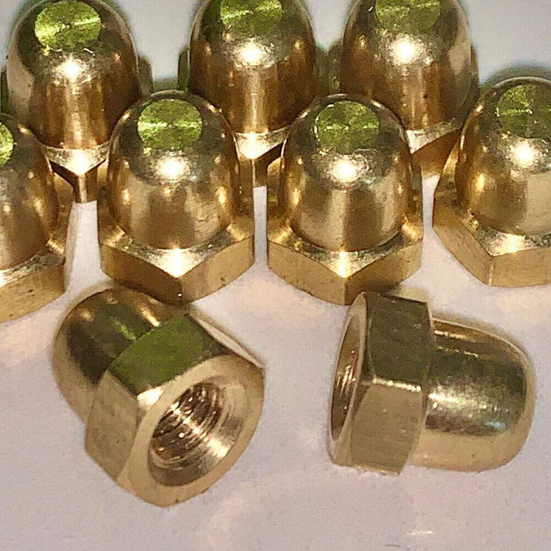 MultiScrew Fasteners SOLID BRASS DOME NUTS DIN 1587 M3, M4, M5, M8, M10, M12, NUT ACORN HEXAGON HEX
