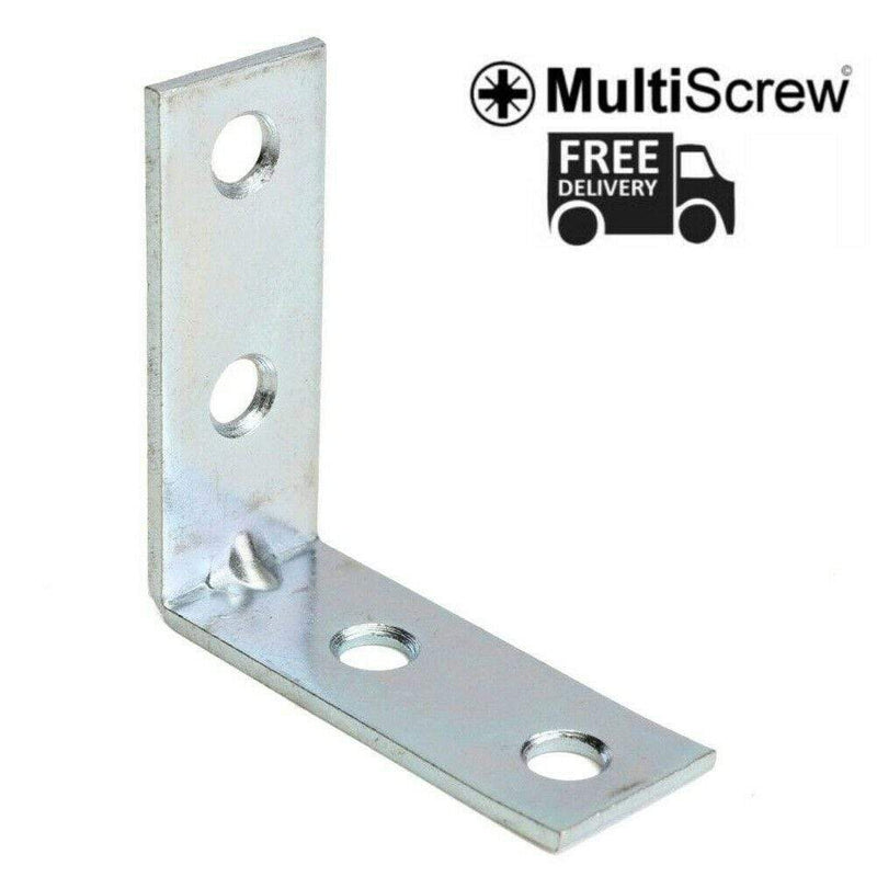 "MultiScrew Fixings 100MM / 4"" METAL ANGLE BRACKETS 90 DEGREE CORNER BRACE SHELF ZINC PLATED L SHAPE"