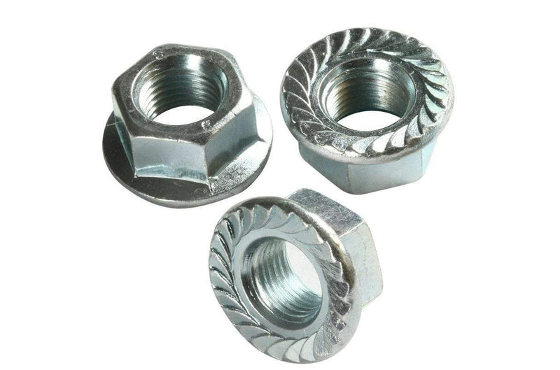 MultiScrew Fixings 5x M10 /10mm SERRATED FLANGE NUTS FLANGED NUTS BZP ZINC DIN6923 STEEL
