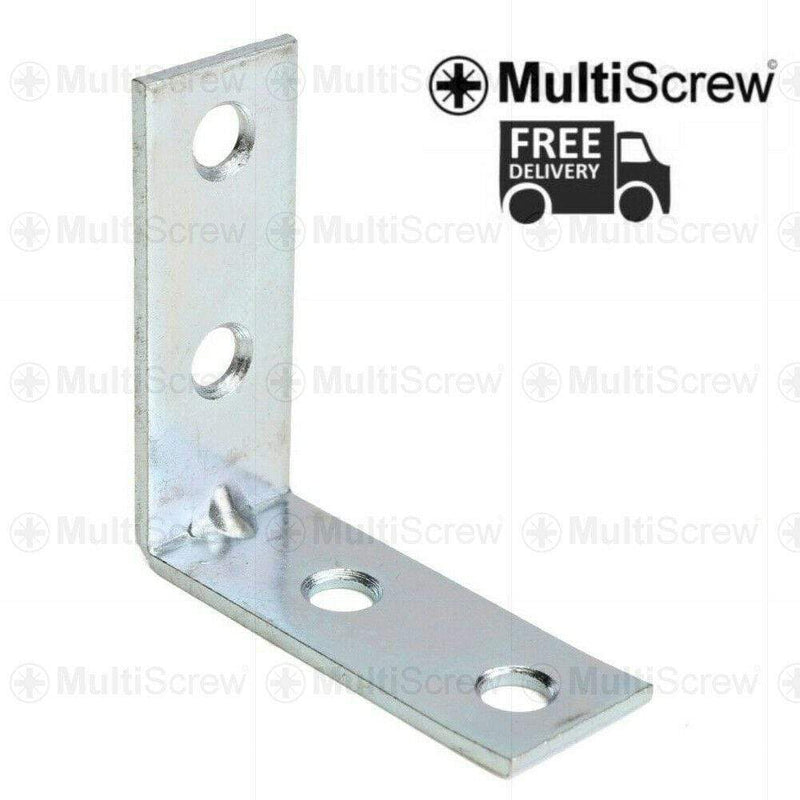 "MultiScrew Fixings 75 x 75 x 16 (mm) / 1 Bracket 75MM / 3"" METAL ANGLE BRACKETS 90 DEGREE CORNER BRACE SHELF ZINC PLATED L SHAPE"