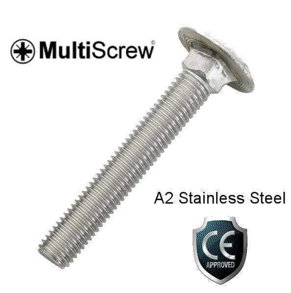 MultiScrew Fixings M8 x 75mm / 10 M8 A2 STAINLESS STEEL CUP SQUARE CARRIAGE BOLT COACH SCREW DIN603 8mm CE