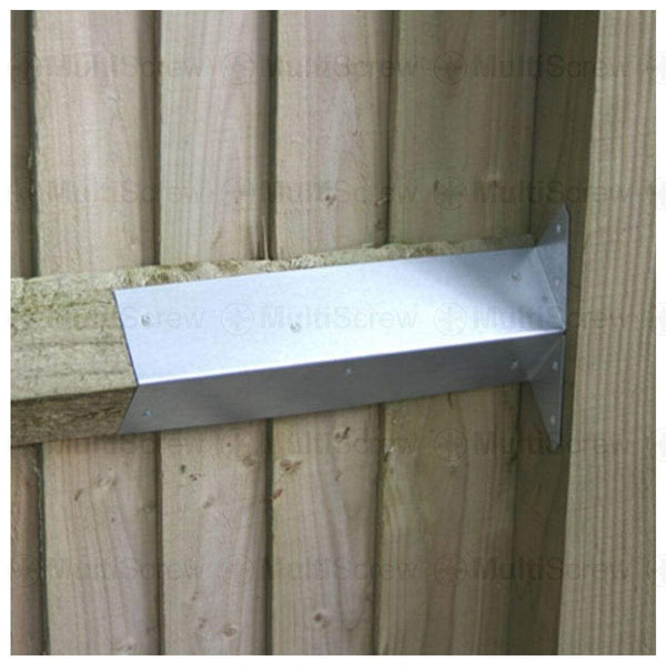 MultiScrew Ironmongery 2 ARRIS RAIL GALVANISED BRACKETS - 300mm - FENCE - FENCING - POST SUPPORT BRACKET