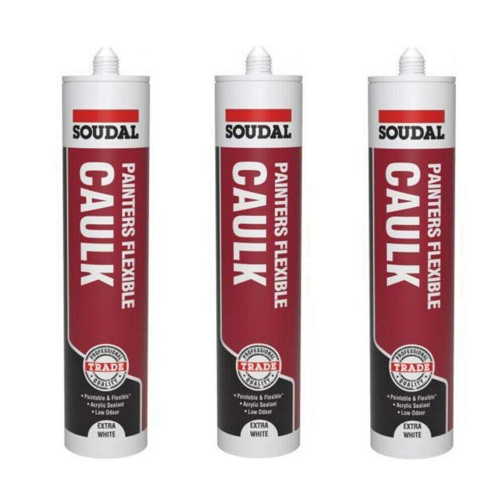 SOUDAL 3x SOUDAL PAINTERS CAULK FLEXIBLE PAINTABLE - 290ml EXTRA WHITE TRADE ODOURLESS