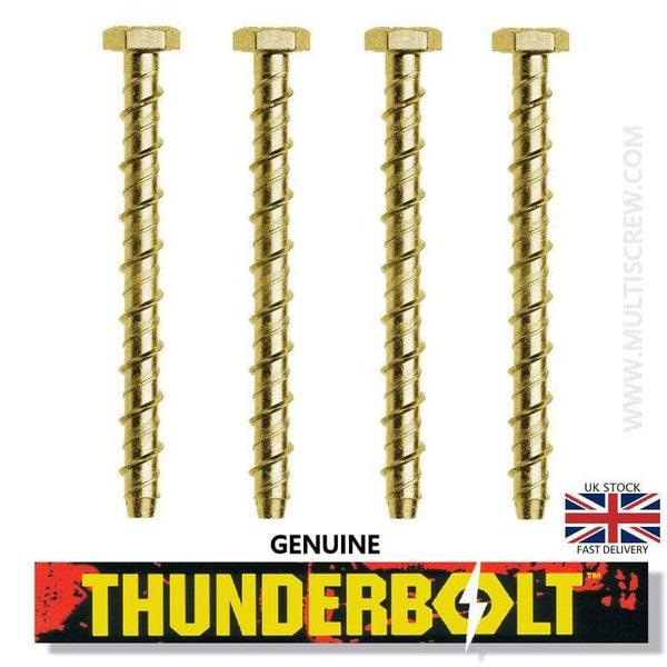 THUNDERBOLT Fixings 4 M8 x 100mm GENUINE THUNDERBOLT MASONRY CONCRETE ANCHOR BOLTS SCREW YELLOW ZINC