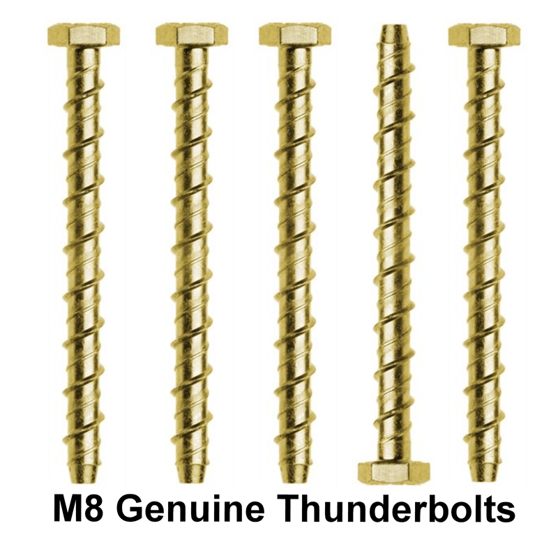 THUNDERBOLT Fixings 4 M8 x 60mm GENUINE THUNDERBOLT MASONRY CONCRETE ANCHOR BOLTS SCREW ZINC YZP HEX