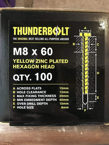 THUNDERBOLT Fixings M8/ 8 x 60mm GENUINE THUNDERBOLT MASONRY CONCRETE ANCHOR BOLTS SCREW ZINC HEX