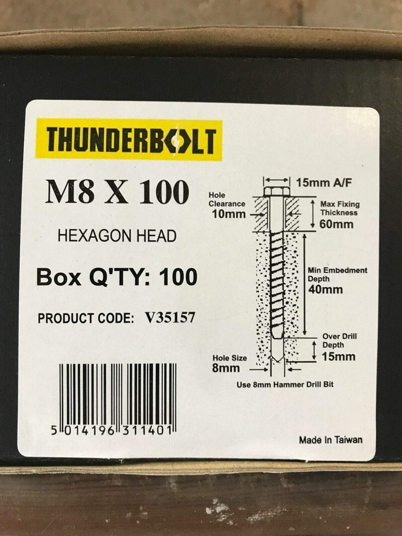 THUNDERBOLT Fixings M8 x 100mm GENUINE THUNDERBOLT MASONRY CONCRETE ANCHOR BOLTS SCREW YELLOW ZINC