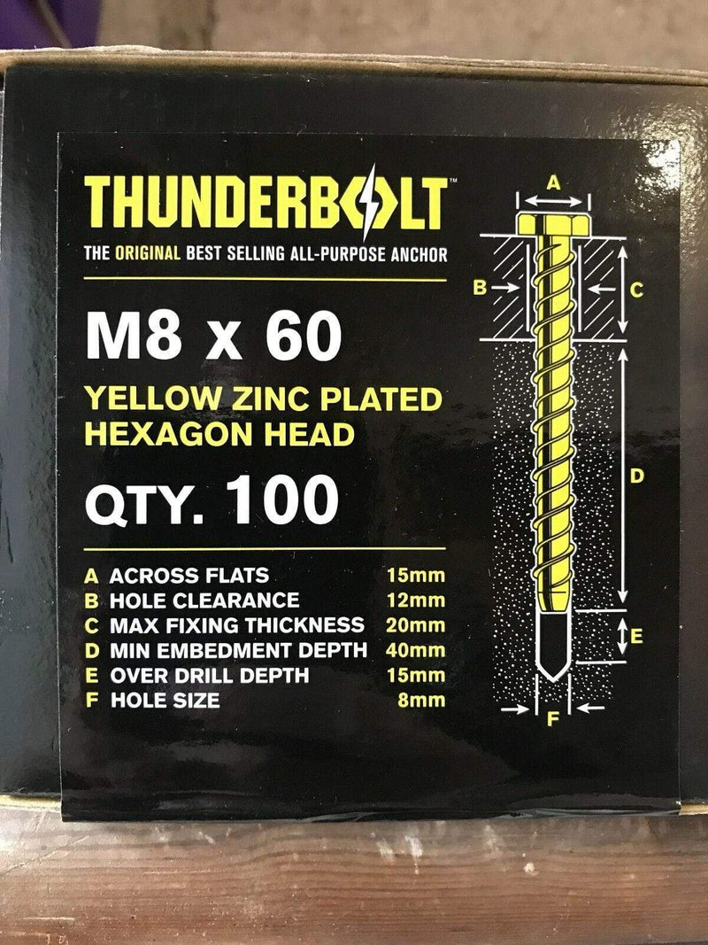 THUNDERBOLT Fixings M8 x 60mm GENUINE THUNDERBOLT MASONRY CONCRETE ANCHOR BOLTS SCREW ZINC YZP HEX