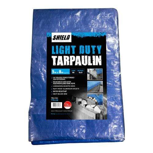 TIMCO Building Hardware & Site Protection Tarpaulin - Light Duty  5 x 8m Shield Light Duty Tarpaulin