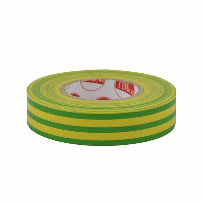 TIMco Consumables GREEN YELLOW STRIPE ELECTRICAL PVC INSULATION TAPE 18mm x 25m FLAME RETARDANT