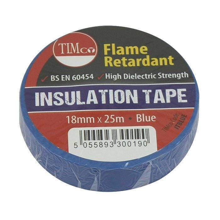 TIMco Consumables TIMCo BLUE ELECTRICAL PVC INSULATION TAPE 18mm x 25m FLAME RETARDANT INSULATING