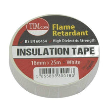 TIMco Consumables TIMCo WHITE ELECTRICAL PVC INSULATION TAPE 18mm x 25m FLAME RETARDANT INSULATING