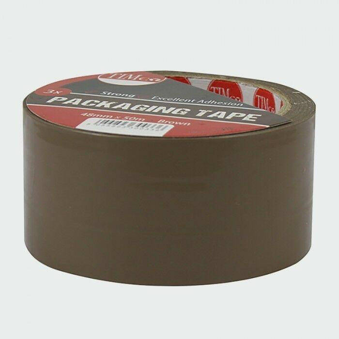 TIMco Consumables x3 Rolls of 50m Brown Parcel Packaging Tape Long Length High Quality Strong