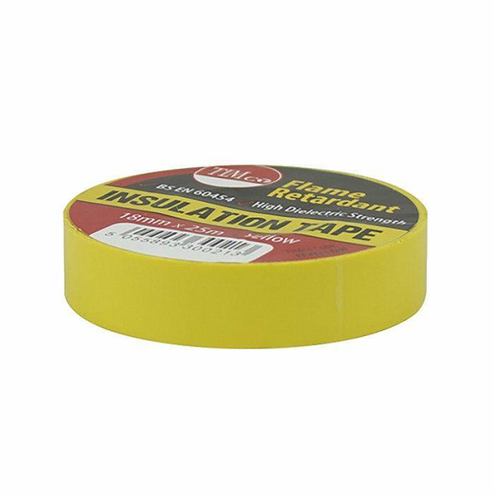 TIMco Consumables YELLOW ELECTRICAL PVC INSULATION TAPE 18mm x 25m FLAME RETARDANT INSULATING
