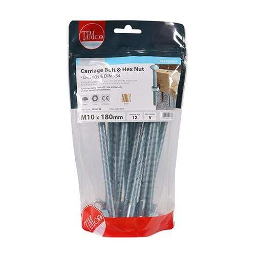 TIMCO Fasteners & Fixings Carriage Bolts & Hex Nuts - Zinc  M10 x 180 Carriage Bolt & Hex Nut - BZP