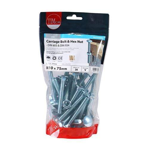TIMCO Fasteners & Fixings Carriage Bolts & Hex Nuts - Zinc  M10 x 75 Carriage Bolt & Hex Nut - BZP