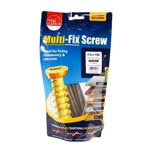 TIMCO Fasteners & Fixings Concrete Screws - TX - Flat Countersunk - Yellow  7.5 x 150 Multi-Fix Concrete Screw - ZYP
