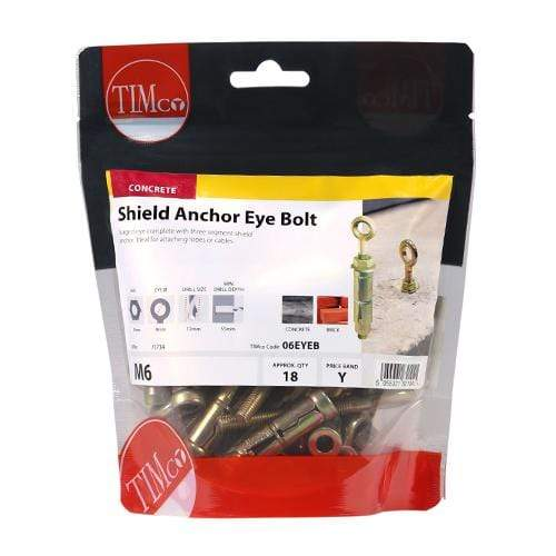 TIMCO Fasteners & Fixings Forged Eyes with Shield Anchors - Yellow  M6 Shield Anchor Eye - ZYP