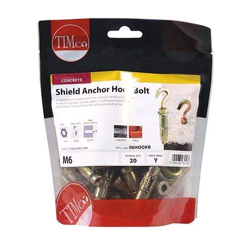 TIMCO Fasteners & Fixings Forged Hooks with Shield Anchors - Yellow  M6 Shield Anchor Hook - ZYP