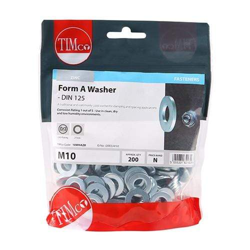 TIMCO Fasteners & Fixings Form A Washers - Zinc  M10 Form A Washer - BZP