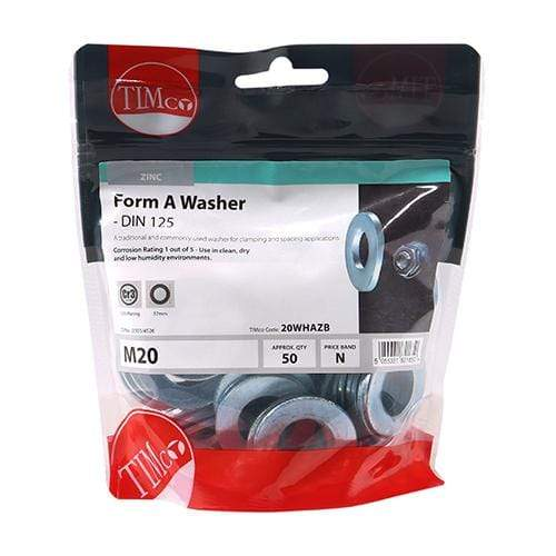 TIMCO Fasteners & Fixings Form A Washers - Zinc  M20 Form A Washer - BZP