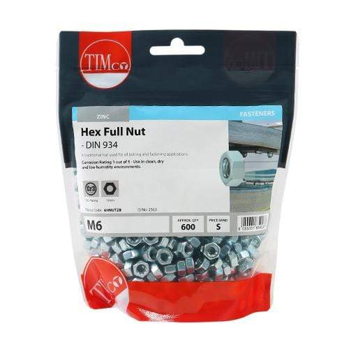 TIMCO Fasteners & Fixings Hex Full Nuts - Zinc  M6 Hex Nut DIN 934 - BZP