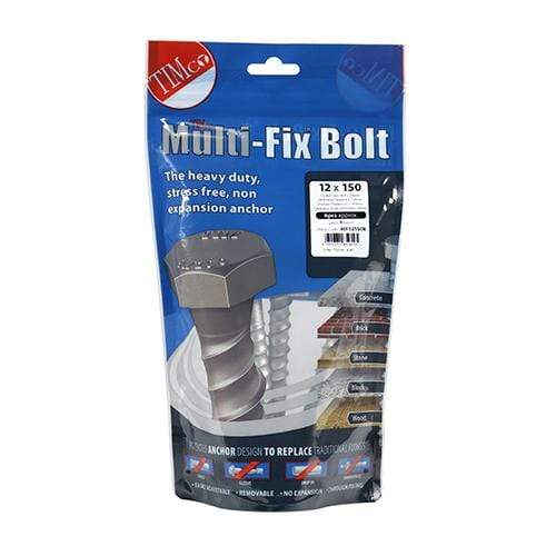 TIMCO Fasteners & Fixings Masonry Bolts - Hex - Exterior - Silver  12.0 x 150 Multi-Fix Bolt Hex Head