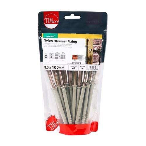TIMCO Fasteners & Fixings Nylon Hammer Fixings - PZ - Yellow  8.0 x 100 Nylon Hammer Fixing - ZYP