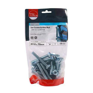 TIMCO Fasteners & Fixings Set Screws & Hex Nuts - Grade 8.8 - Zinc  M10 x 70 Set Screw & Hex Nut - BZP