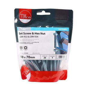 TIMCO Fasteners & Fixings Set Screws & Hex Nuts - Grade 8.8 - Zinc  M8 x 70 Set Screw & Hex Nut - BZP